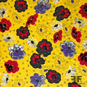Playful Floral Silk Jacquard - Yellow/Red/Purple