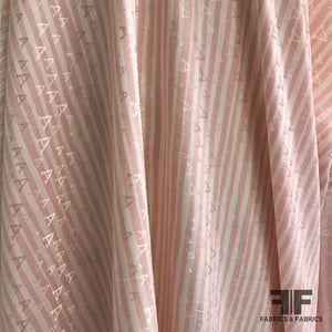 Striped 'A' Pattern Silk Jacquard - Pale Pink/White