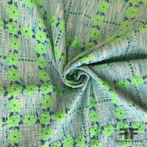 Floral Windowpane Brocade - Bright Green/Blue/White