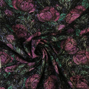 Italian Floral Textured Brocade - Purple/Black/Metallic