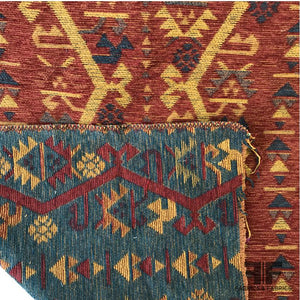 Chenille Home Decorative Jacquard - Red/Yellow/Blue