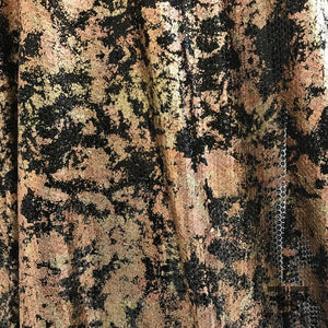 Black Tulle with Rose Gold Foil Printed Sequins - Black/Gold/Rose Gold