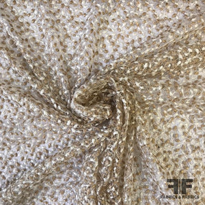 Embroidered Novelty Netting - White/Nude