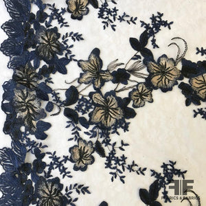 Descending Floral Embroidered Netting - Navy/Nude/Black