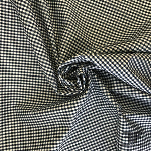 Italian Gingham Printed Stretch Cotton - Navy/White