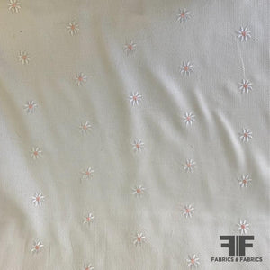 Floral Embroidered Cotton Pique - White/Pink