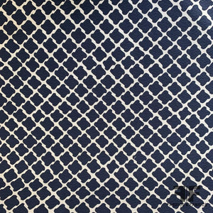 Swiss Houndstooth-Like Printed Cotton Pique - White/Navy