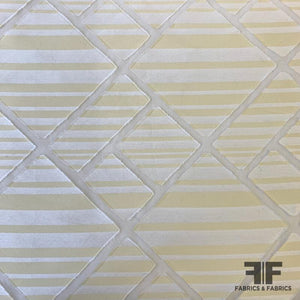 Italian Geometric Burnout Striped Grossgrain Satin - Pale Yellow/White