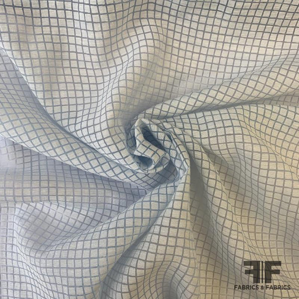 Windowpane Burnout Organza - Light Blue