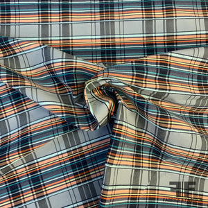 Plaid Stretch Yarn-Dyed Cotton with Textured Pinstripe - Blue / Teal / Orange