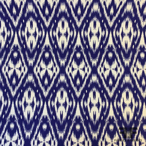 Ikat Printed Cotton Twill - White/Blue