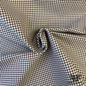 Windowpane Plaid Yarn-Dyed Stretch Cotton Twill - Ivory/Pink/Brown