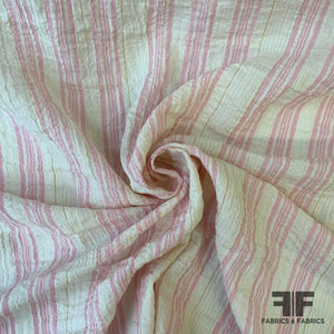 Metallic Crinkled Striped Cotton - Off White/Pink