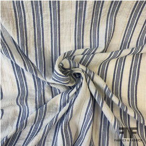 Metallic Crinkled Striped Cotton - Off White/Blue