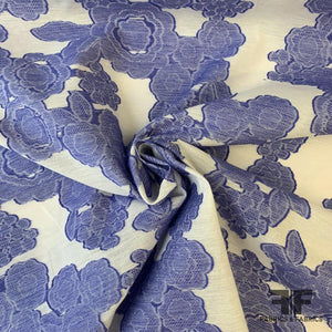 Floral Fil Coupe Cotton Voile - Periwinkle / White
