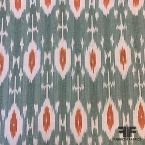 Ikat Cotton Oxford Cloth - Off White/Orange/Green