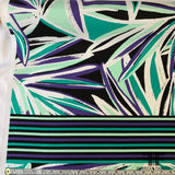 Striped/Floral Stretch Cotton - Green/Purple/Black