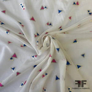Metallic Triangle Silk/Cotton Voile - Off White/Blue/Pink