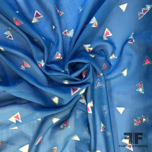 Metallic Triangle Silk/Cotton Voile - Blue/White/Pink
