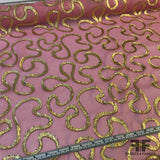 Metallic Jacquard Swirls on Crinkled Silk Chiffon - Pink/Gold