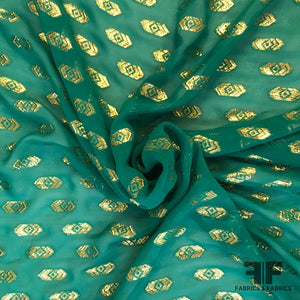 Metallic Geometric Jacquard Pattern on Silk Chiffon - Green/Gold