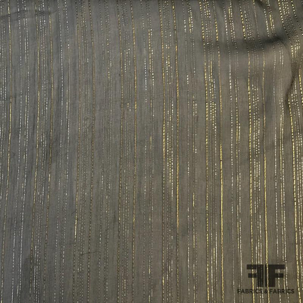 Metallic Striped Crinkled Silk Chiffon - Black/Silver/Gold