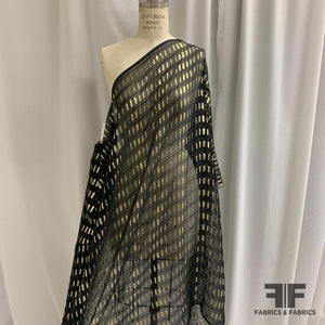 French Metallic Silk Chiffon - Black/Gold