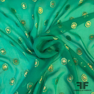 Italian Metallic Polka Dot Chiffon - Green/Gold