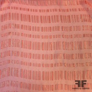 Italian Metallic Windowpane Pattern Silk Chiffon - Pink/Silver Gold