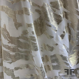 Italian Abstract Metallic Burnout Silk - Gold/White