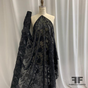 Italian Floral Burnout Poly Chiffon - Metallic Black