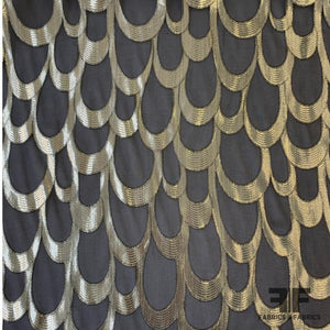 Italian Metallic Scallop Burnout Chiffon - Black/Gold