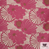 Floral Wool Crepe fabric - Cream/Raspberry