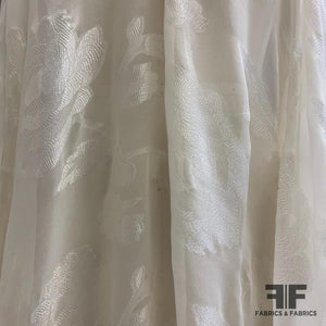Metallic Floral Burnout Silk - Ivory