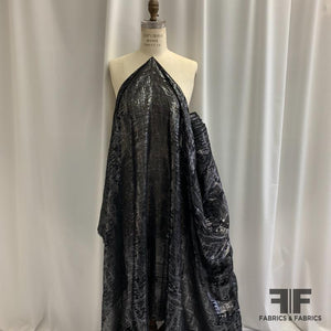 Abstract Silk Chiffon with Lurex - Silver/Black