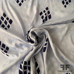 Italian Geometric Silk Jacquard Blend - Light Blue/Navy