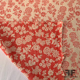 Reversible Floral Cotton Brocade - Red/Off White