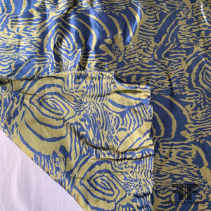 Abstract Ethnic Stretch Polyester Twill Woven - Blue/Yellow