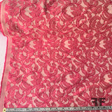 Italian Lace Patterned Brocade - Magenta