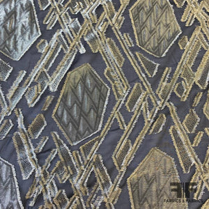 Geometric Art Deco Fil Coupe Silk Lame - Bronze/Black