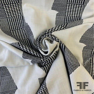 Italian Double-Sided Houndstooth Glen Plaid Cotton - Black/Off-White