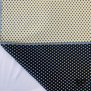 Italian Double-Sided Stretch Polka Dot - Navy/Cream