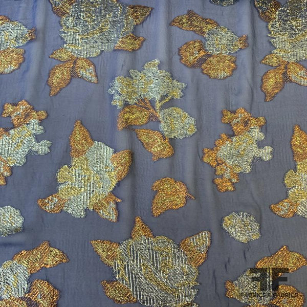 Italian Metallic Floral Burnout Silk Chiffon - Navy/Bronze/Gold/Silver