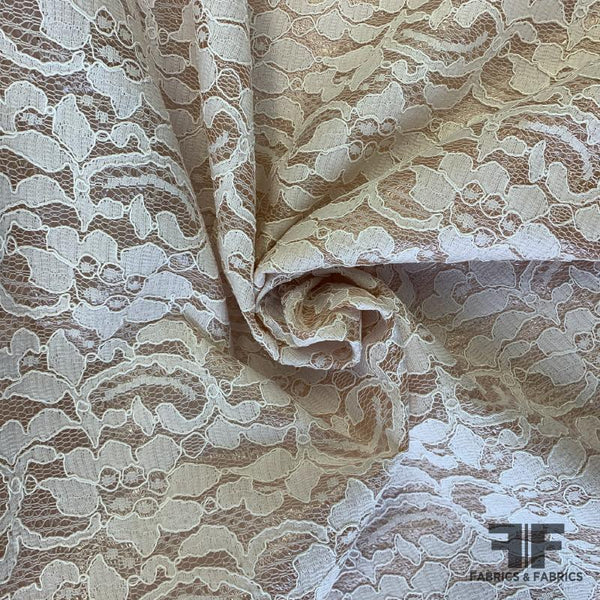 Italian Novelty Latex Laminated Lace - White/Nude