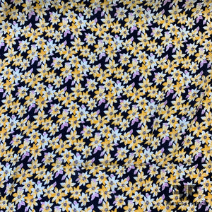 Mini Angkor Floral Rayon Georgette - Black/Yellow