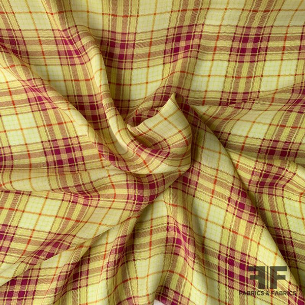 Plaid Silk Georgette - Lemongrass/Multicolor