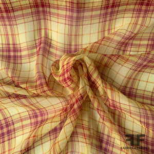 Plaid Crinkled Silk Chiffon - Lemongrass/Multicolor