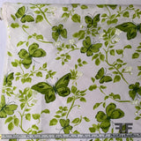 Butterfly Printed Silk Shantung - Green/White