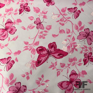 Butterfly Printed Silk Shantung - Pink/White