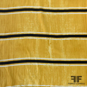 Striped / Distress Printed Silk Crepe de Chine - Yellow